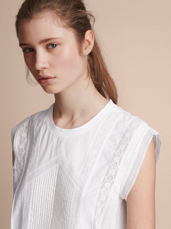 Sleeveless Lace and Pintuck Detail Cotton Top