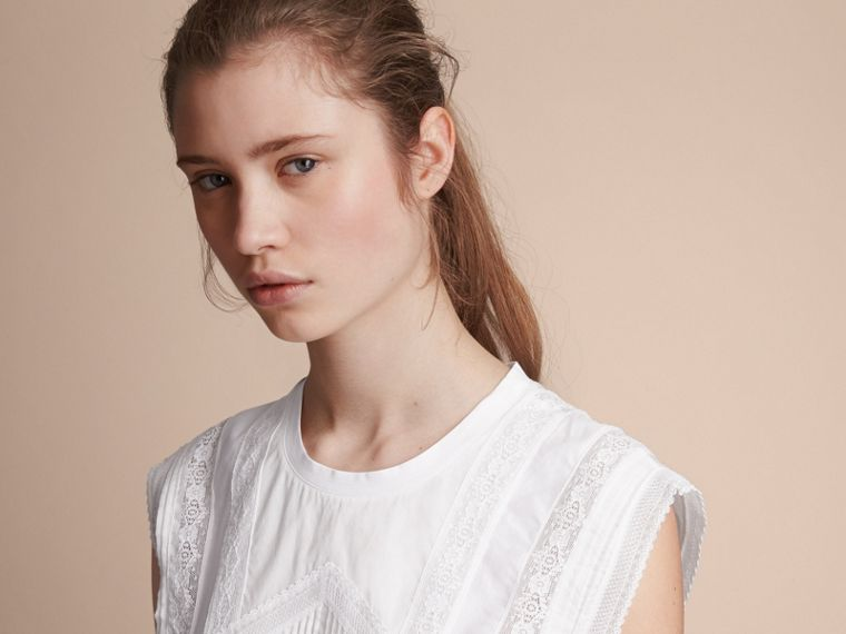 Sleeveless Lace and Pintuck Detail Cotton Top - Women | Burberry - cell image 4