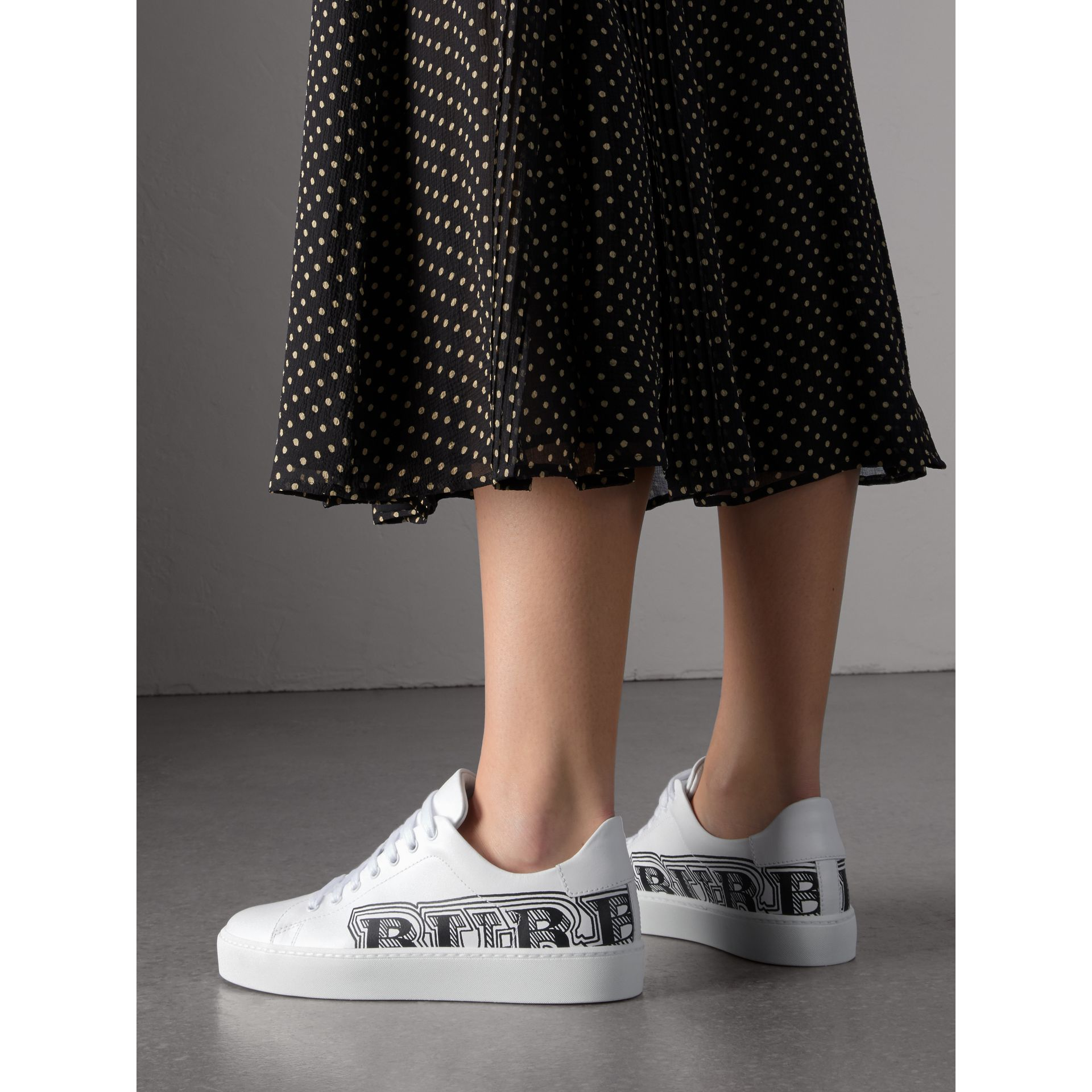Doodle Print Leather Sneakers in Optic White - Women | Burberry - gallery image 2