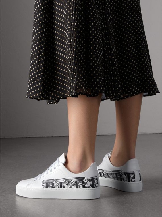Doodle Print Leather Trainers in Optic White - Women | Burberry - cell image 2