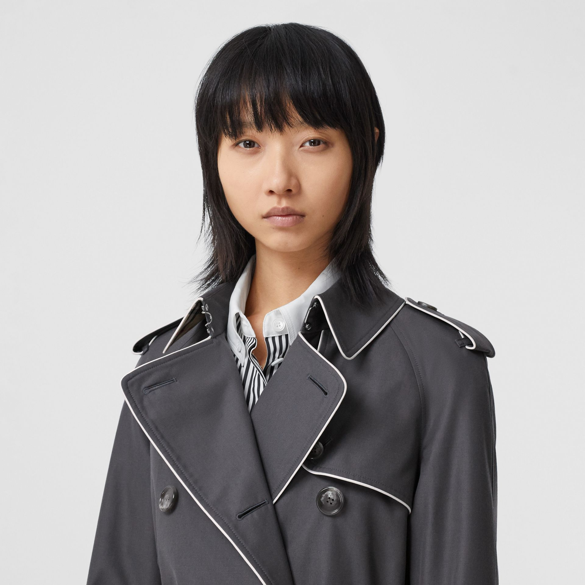Piped Cotton Gabardine Trench Coat in Mid Grey - Women | Burberry - gallery image 1