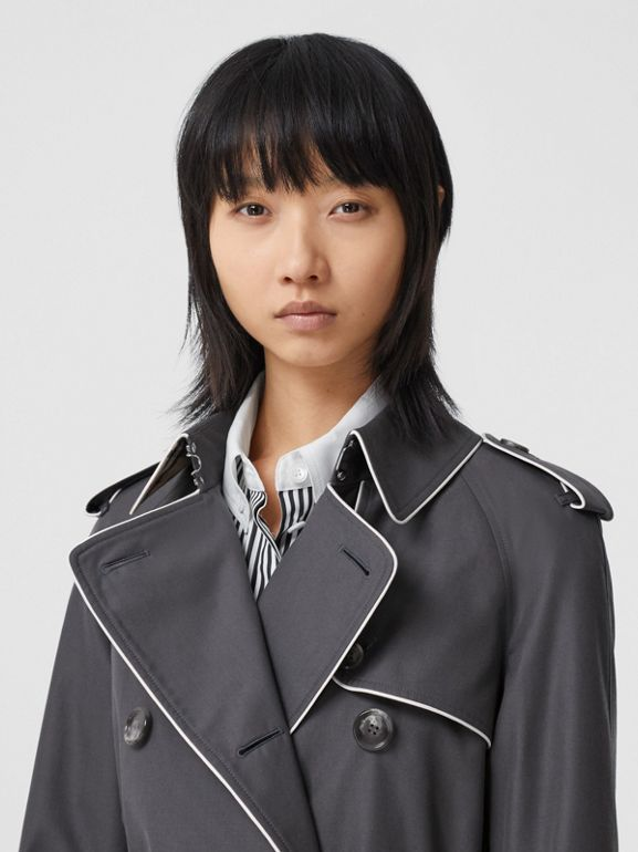 Piped Cotton Gabardine Trench Coat in Mid Grey - Women | Burberry - cell image 1