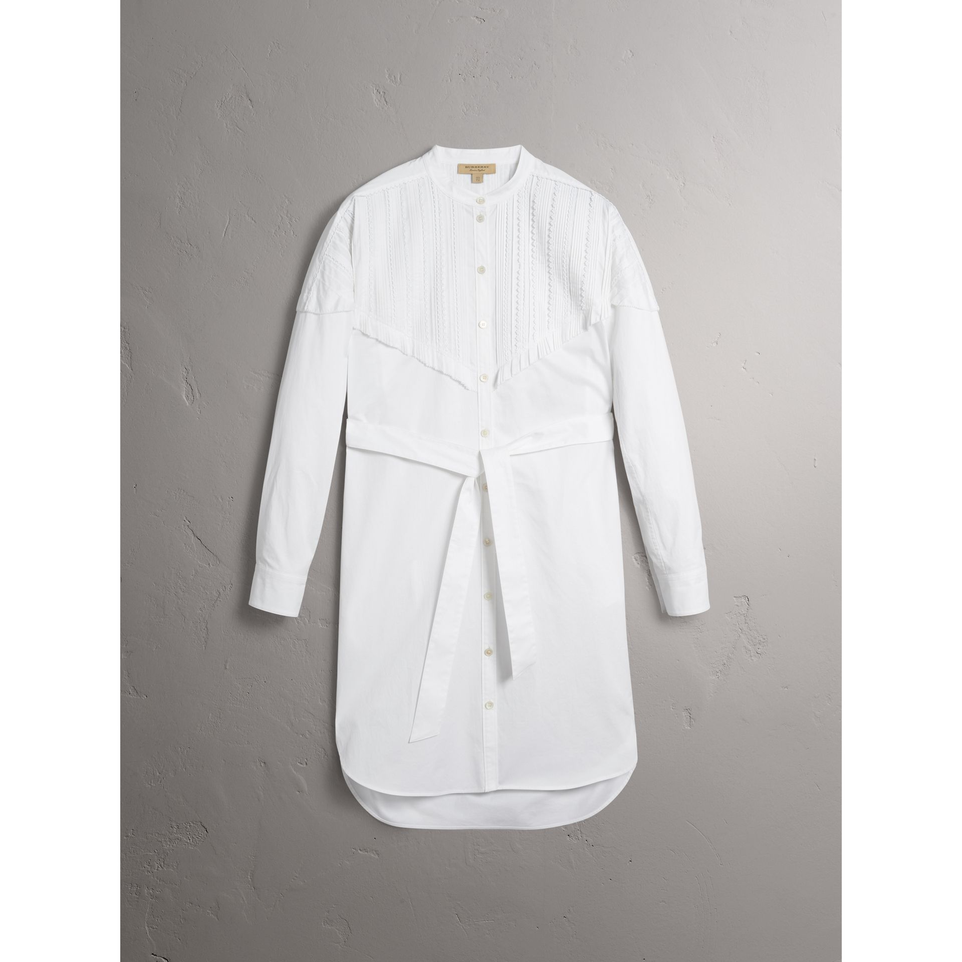 Pintuck Detail Stretch Cotton Shirt Dress in White - Women | Burberry United States - gallery image 3