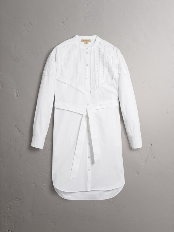 Pintuck Detail Stretch Cotton Shirt Dress in White - Women | Burberry - cell image 3