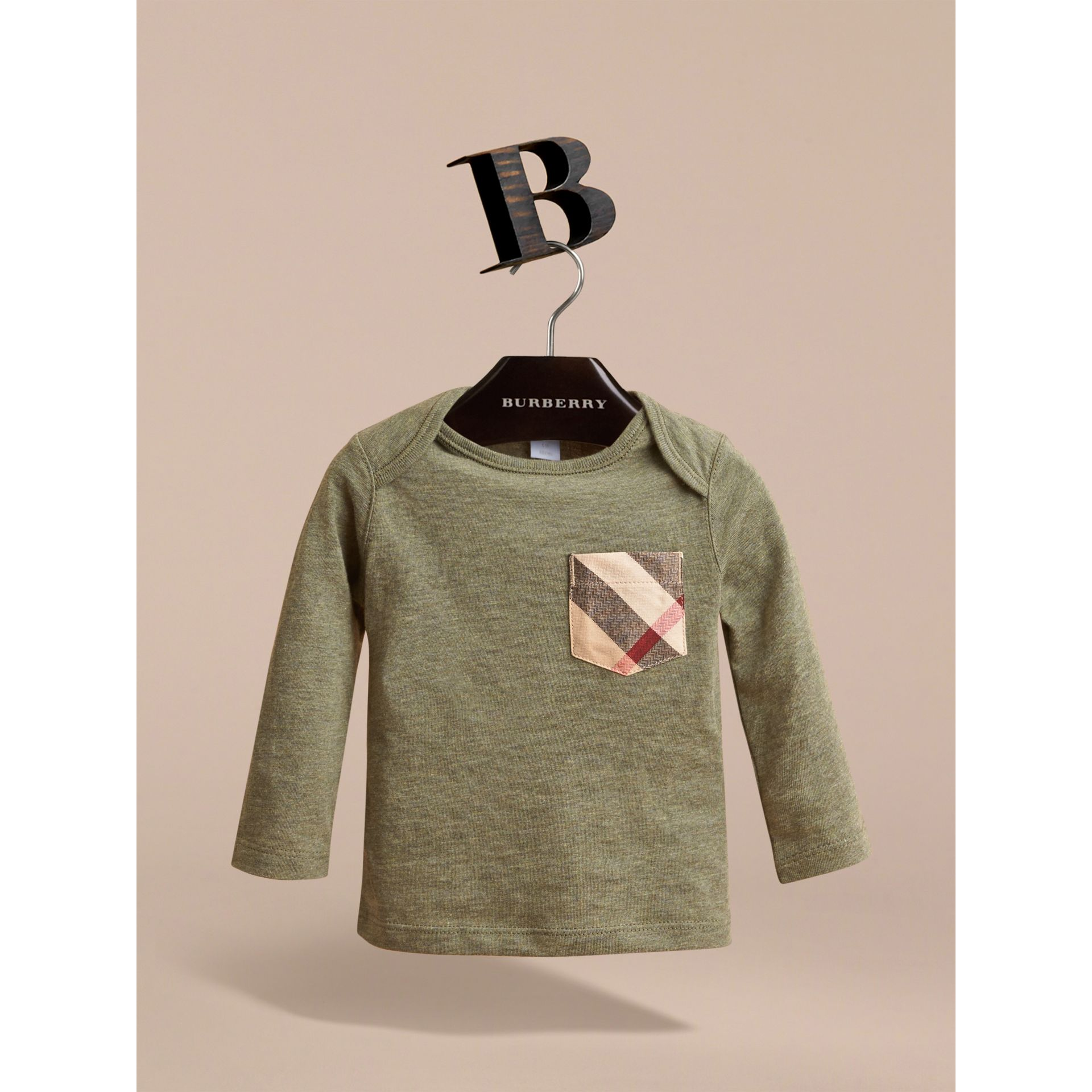 Long-sleeve Check Pocket Cotton T-shirt in Khaki Green Melange - gallery image 2