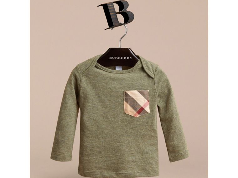 Long-sleeve Check Pocket Cotton T-shirt in Khaki Green Melange - cell image 1