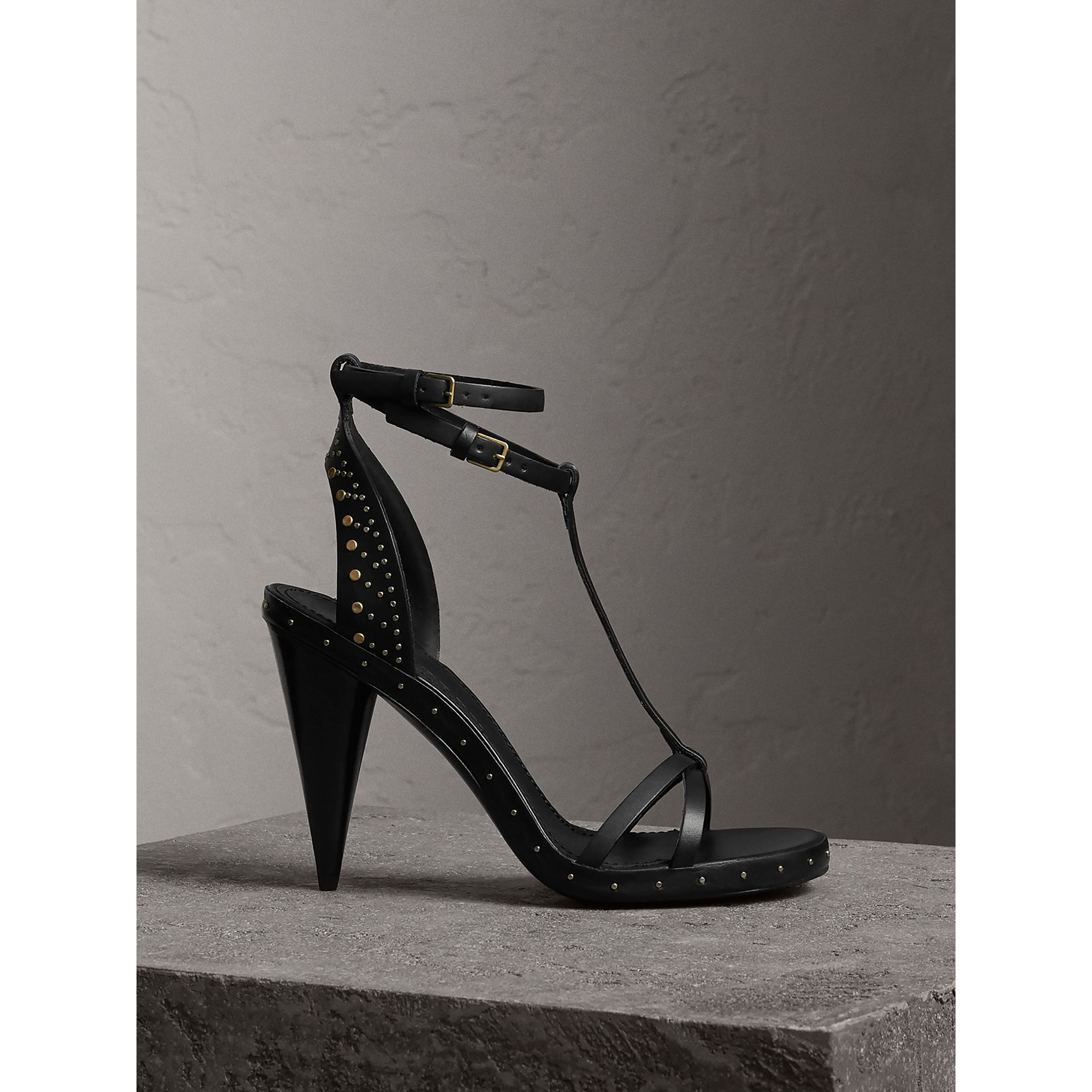 Riveted Leather High Cone-heel Sandals in Black - Women | Burberry - gallery image 0