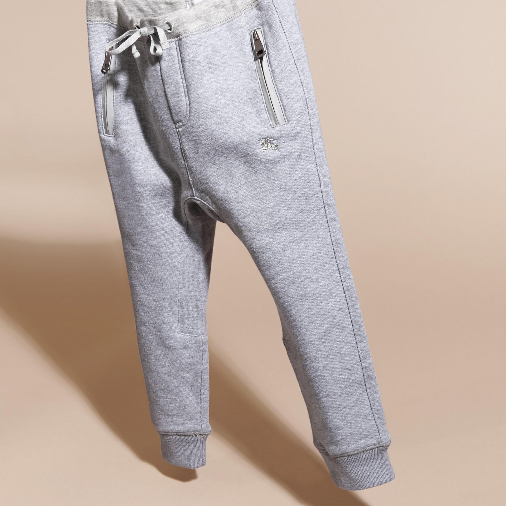 Grigio medio mélange Pantaloni tuta in cotone Grigio Medio Mélange - immagine della galleria 3