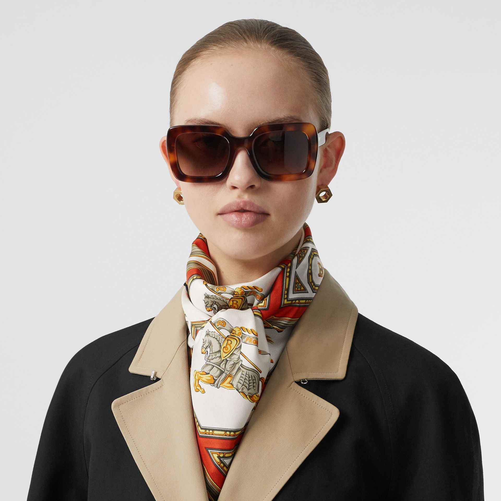 Archive Scarf Print Silk Square Scarf in Vermillion | Burberry Australia - gallery image 2