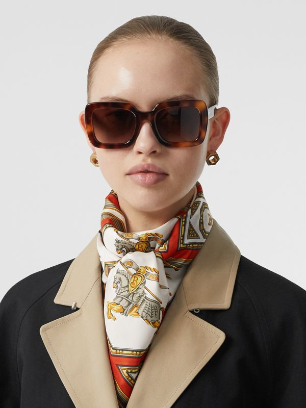 Archive Scarf Print Silk Square Scarf in Vermillion | Burberry - cell image 2