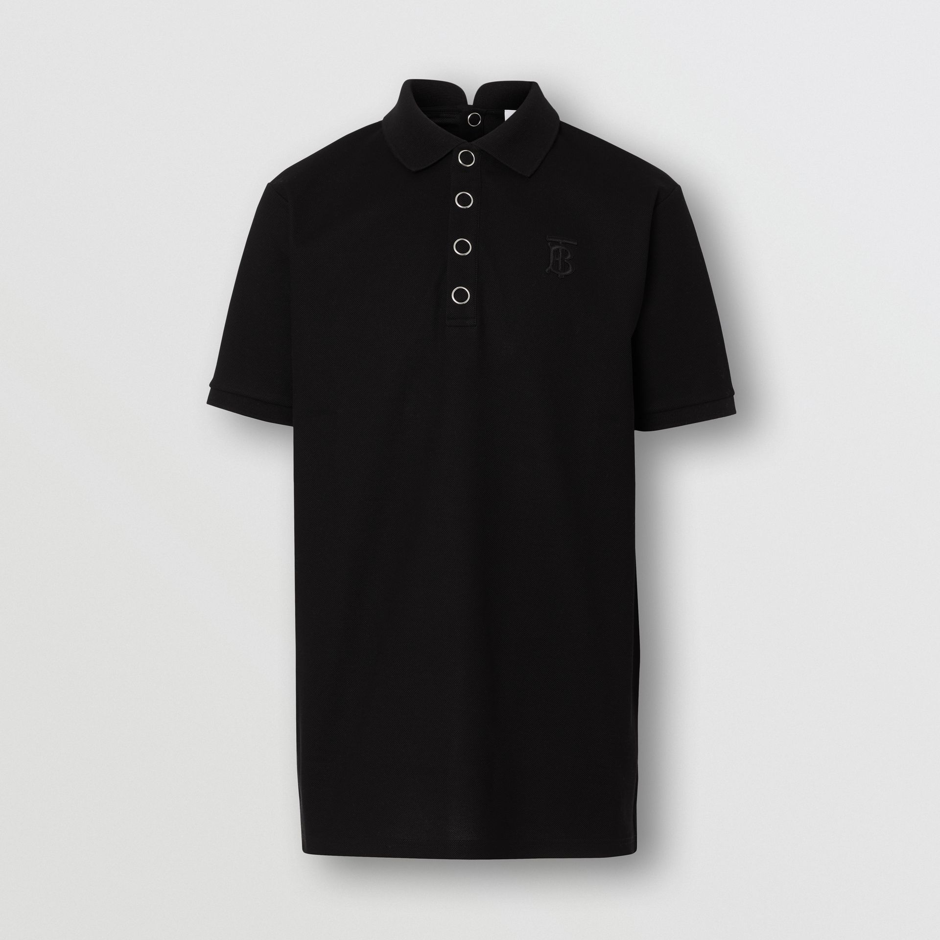 Monogram Motif Cotton Piqué Polo Shirt in Black | Burberry United States - gallery image 3