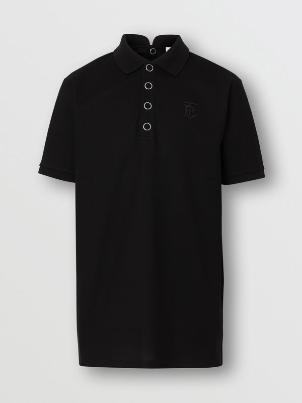 Monogram Motif Cotton Piqué Polo Shirt in Black | Burberry - cell image 3