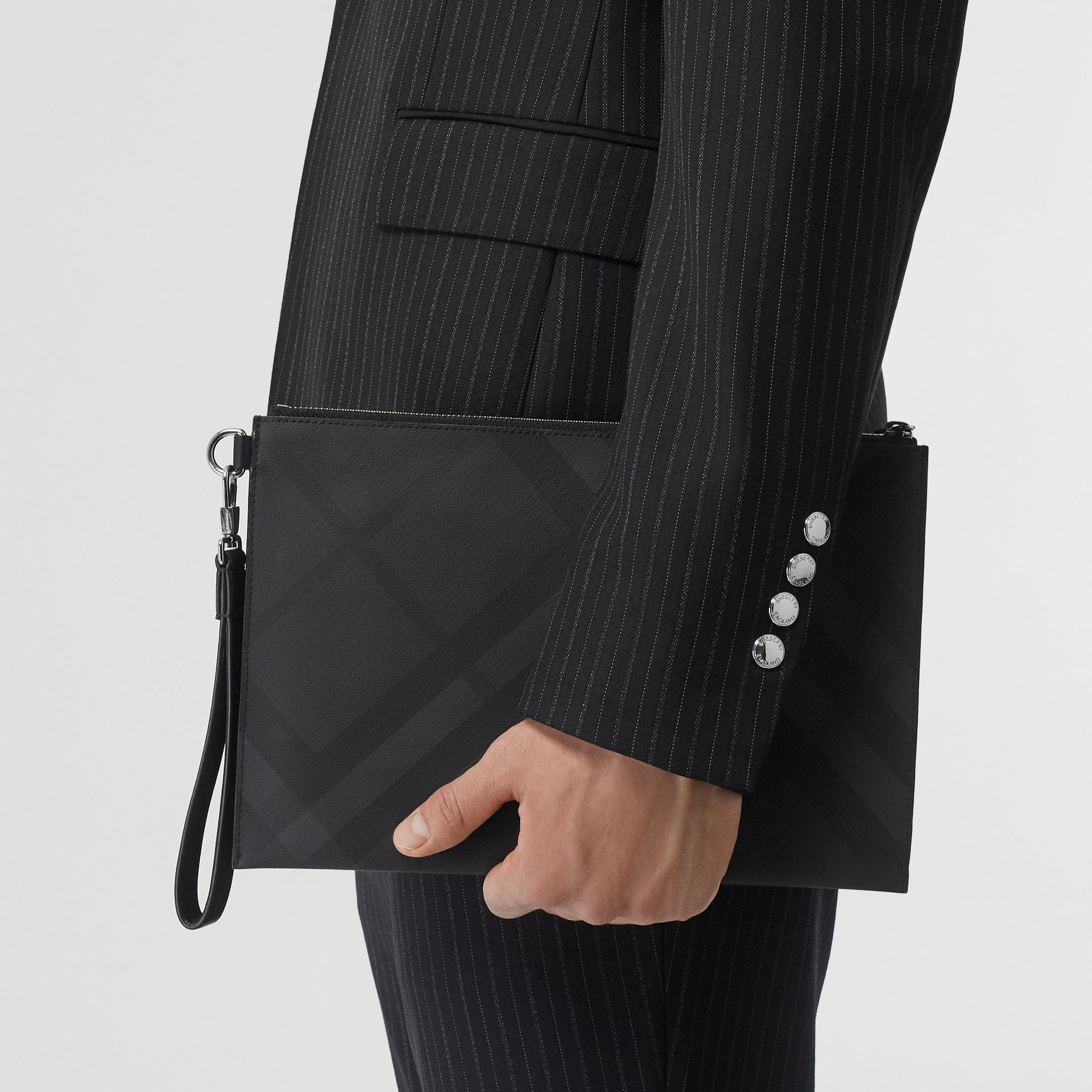 London Check and Leather Zip Pouch in Dark Charcoal - Men | Burberry United Kingdom - gallery image 2