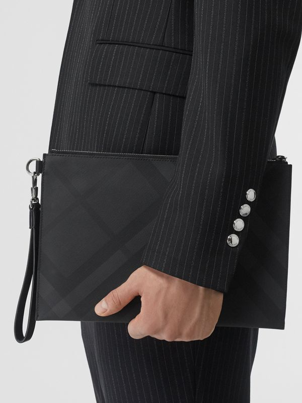 London Check and Leather Zip Pouch in Dark Charcoal - Men | Burberry United States - cell image 2