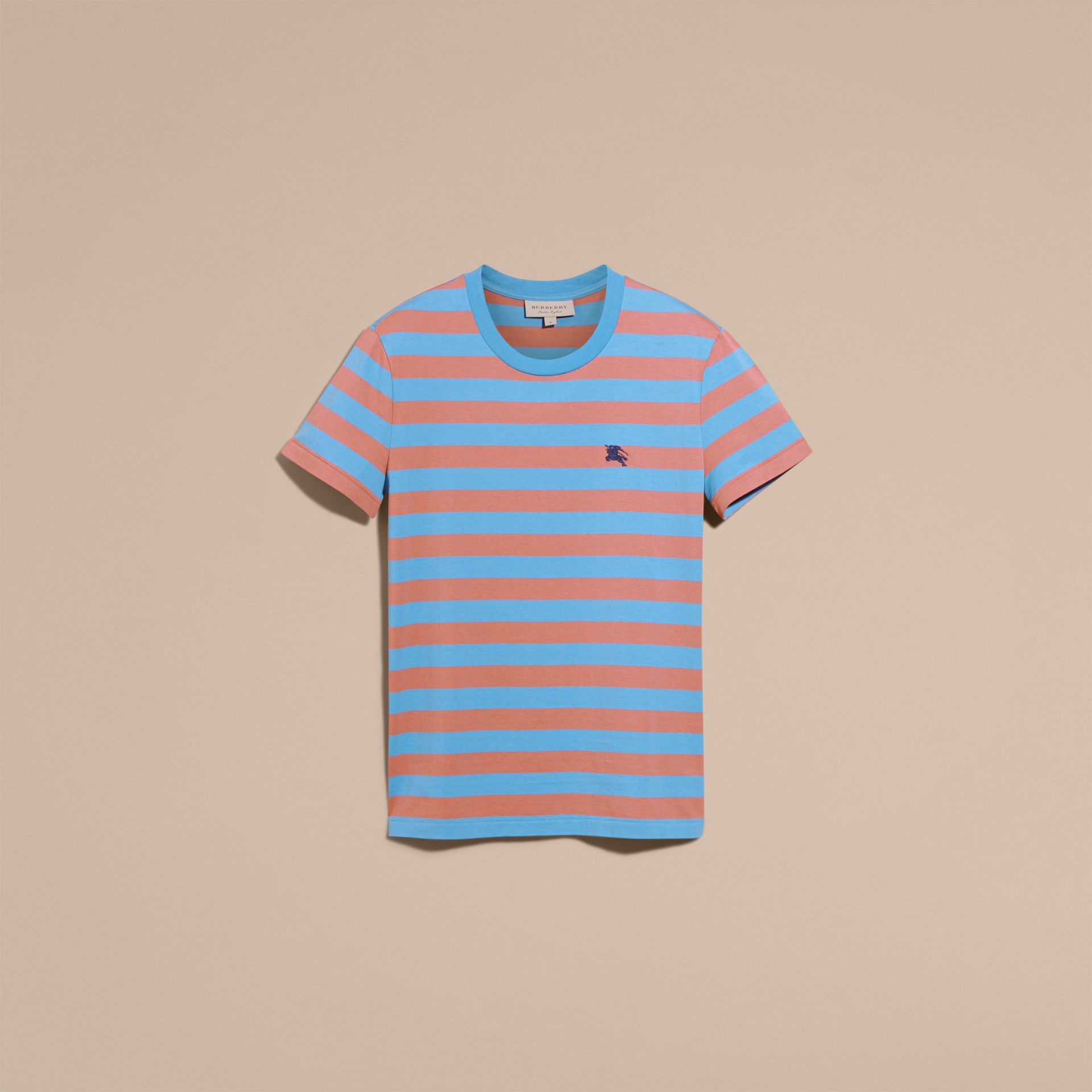 Striped Cotton T-Shirt Rose Pink/chalk Blue - gallery image 4