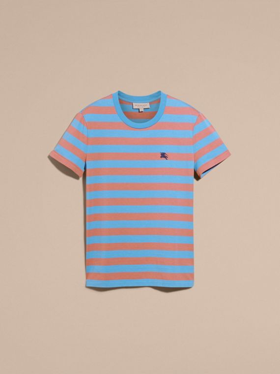 Striped Cotton T-Shirt Rose Pink/chalk Blue - cell image 3