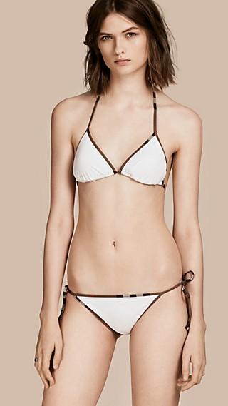 Check Trim Triangle Bikini White