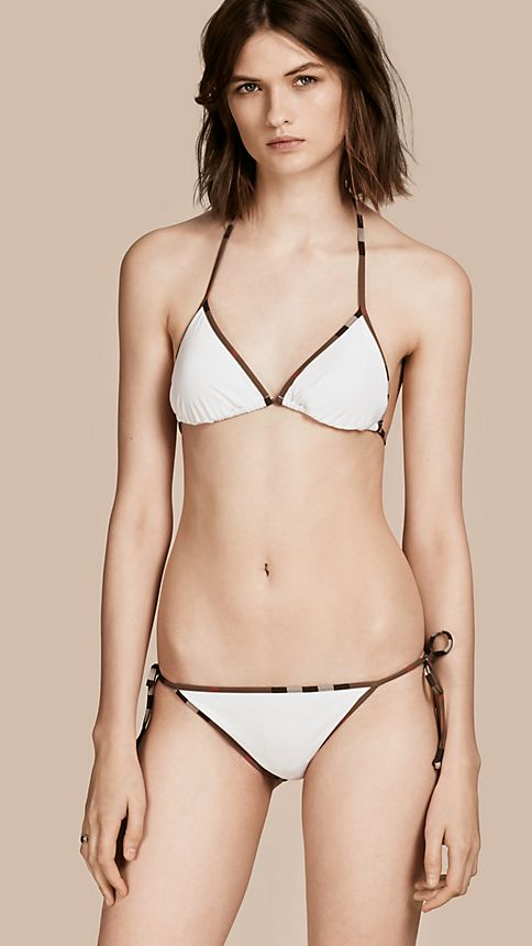 White Check Trim Triangle Bikini White - Image 1