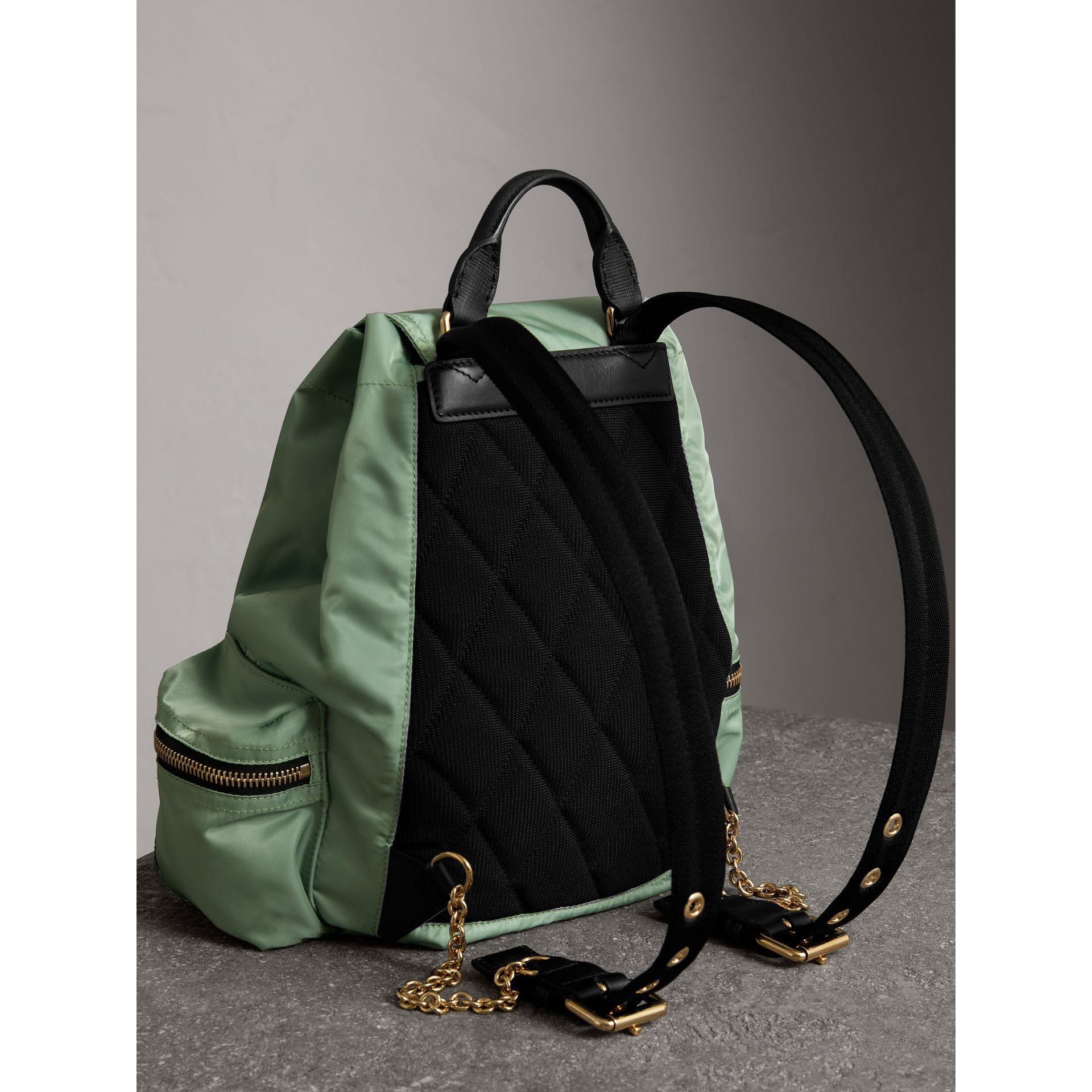 The Medium Rucksack in Technical Nylon and Leather in Apple Green - Women | Burberry United States - gallery image 4