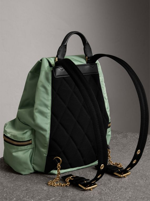 The Medium Rucksack in Technical Nylon and Leather in Apple Green - Women | Burberry - cell image 3