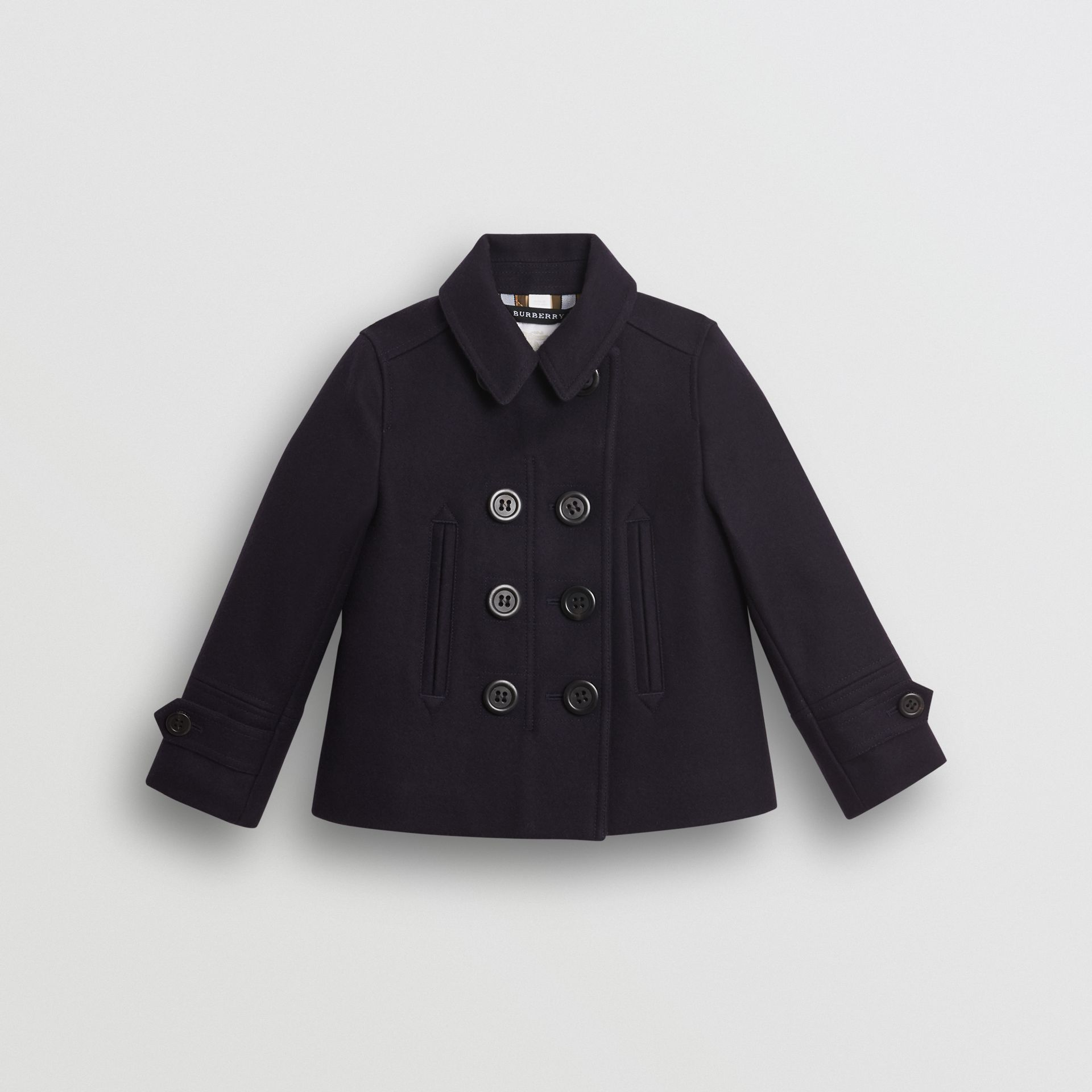 d805a894d Wool Cashmere Blend Pea Coat in Navy | Burberry United States - gallery  image 0