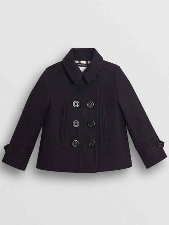 Wool Cashmere Blend Pea Coat in Navy