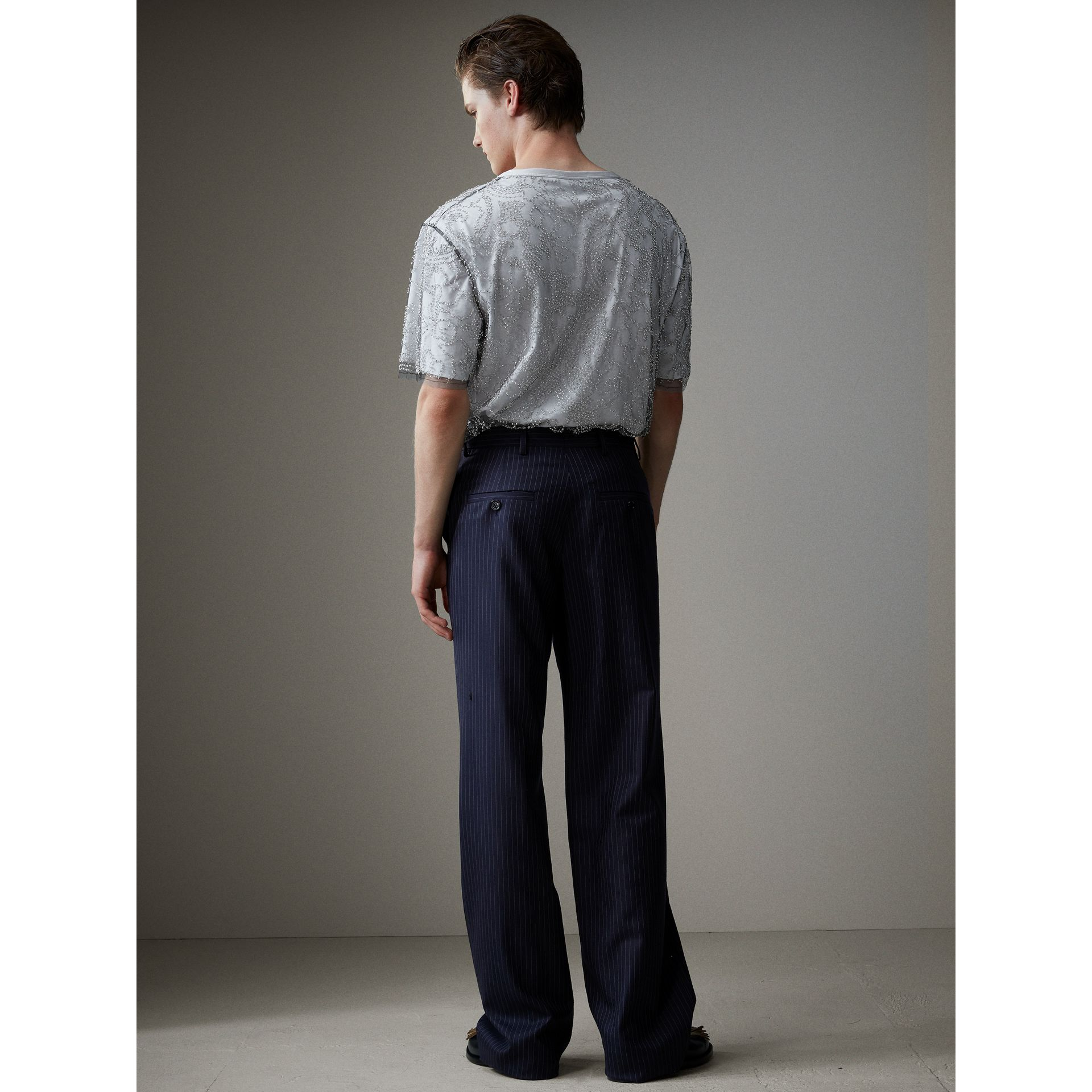 English Pinstripe Wool Wide-leg Trousers in Navy/white - Men | Burberry Australia - gallery image 2