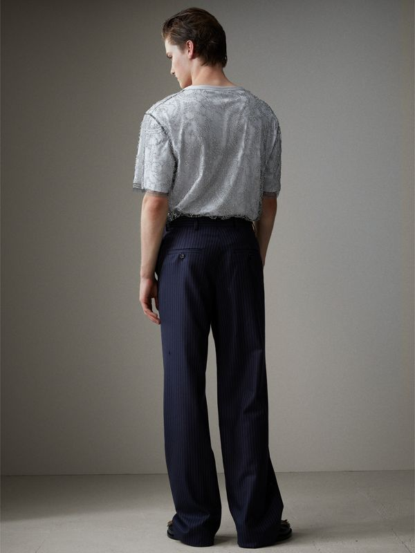 English Pinstripe Wool Wide-leg Trousers in Navy/white - Men | Burberry United Kingdom - cell image 2