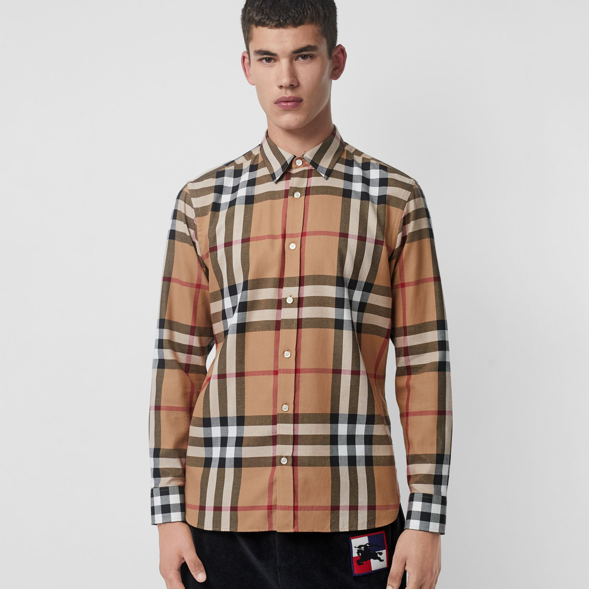 Check Cotton Flannel Shirt in Camel - Men | Burberry United Kingdom - gallery image 4