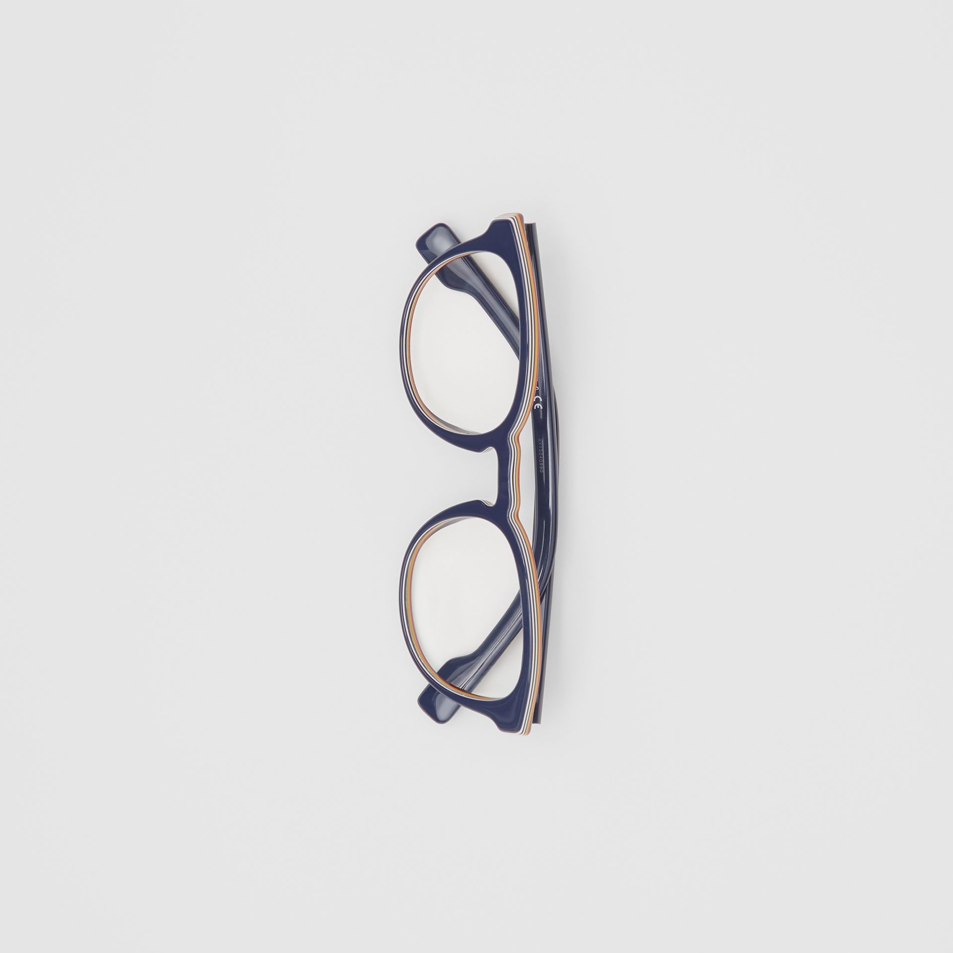 Icon Stripe Detail Round Optical Frames in Blue - Men | Burberry - gallery image 2