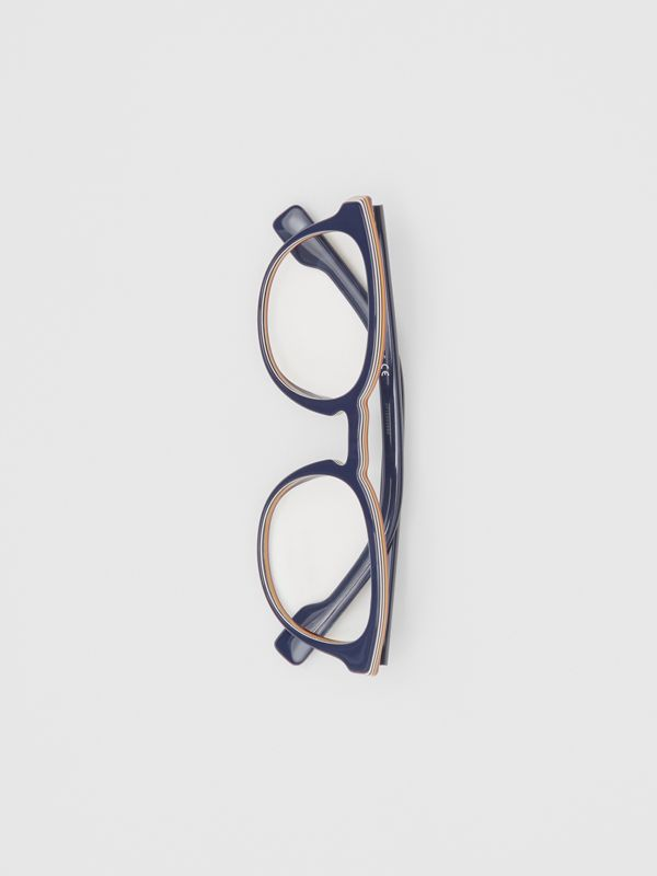 Icon Stripe Detail Round Optical Frames in Blue - Men | Burberry - cell image 2