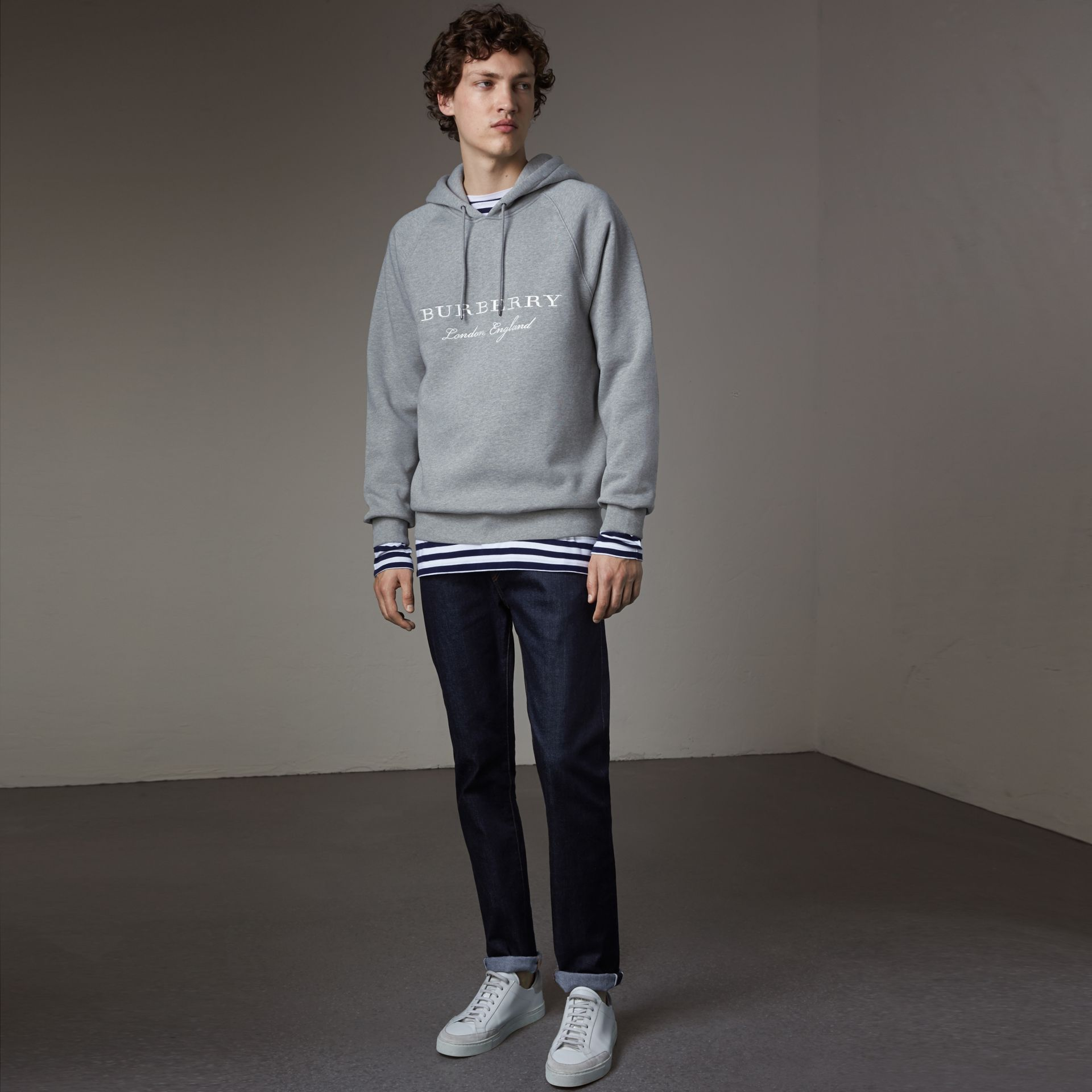 Embroidered Hooded Sweatshirt in Grey Melange - Men | Burberry United Kingdom - gallery image 0