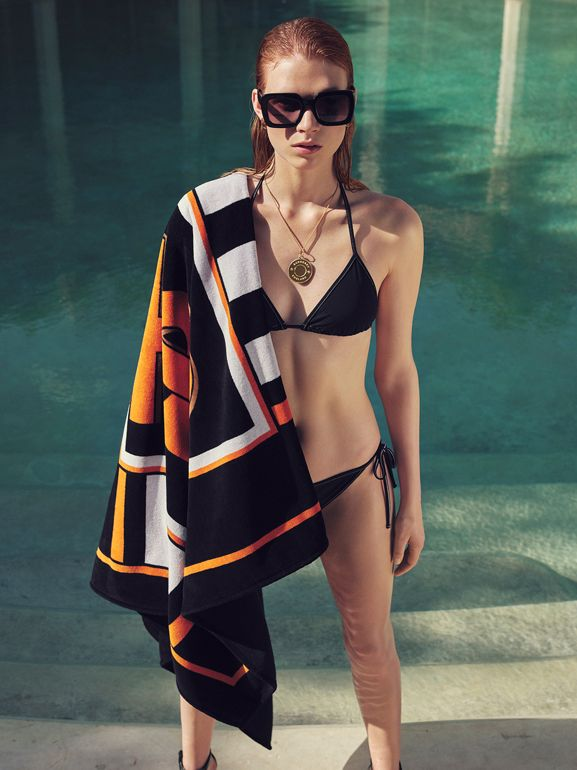 Logo Detail Triangle Bikini in Black | Burberry - cell image 1
