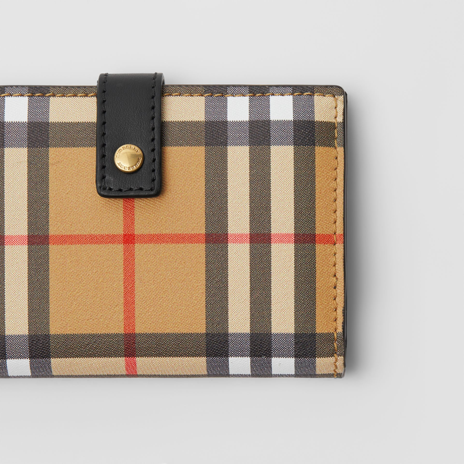 Vintage Check and Leather Folding Wallet in Black - Women | Burberry - gallery image 1