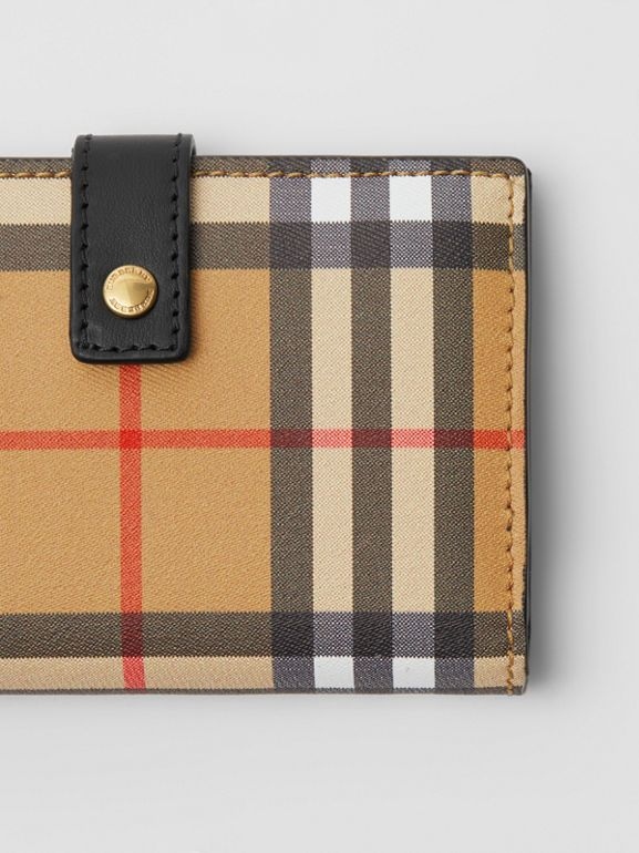 Vintage Check and Leather Folding Wallet in Black - Women | Burberry Hong Kong S.A.R - cell image 1