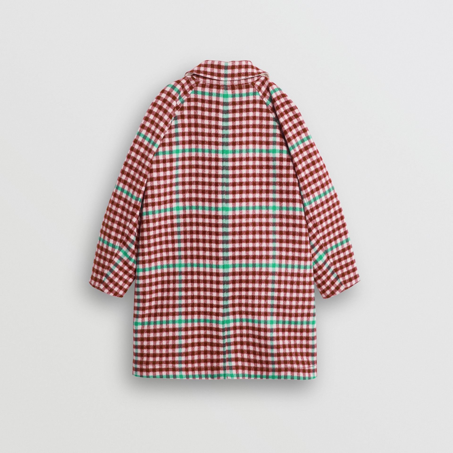 Reversible Check Wool and Cotton Car Coat in Garnet Pink - Children | Burberry - gallery image 3