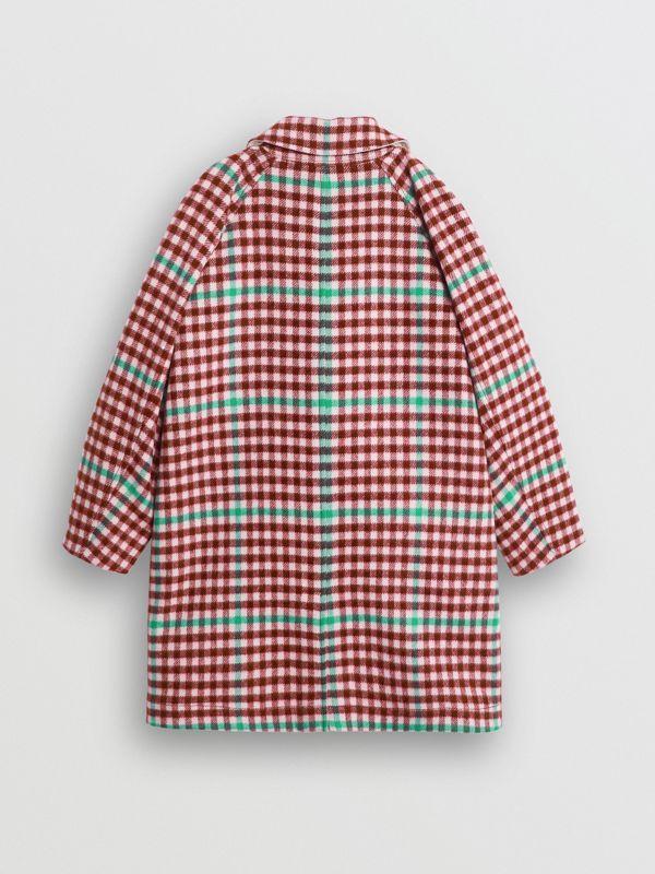 Reversible Check Wool and Cotton Car Coat in Garnet Pink - Children | Burberry - cell image 3