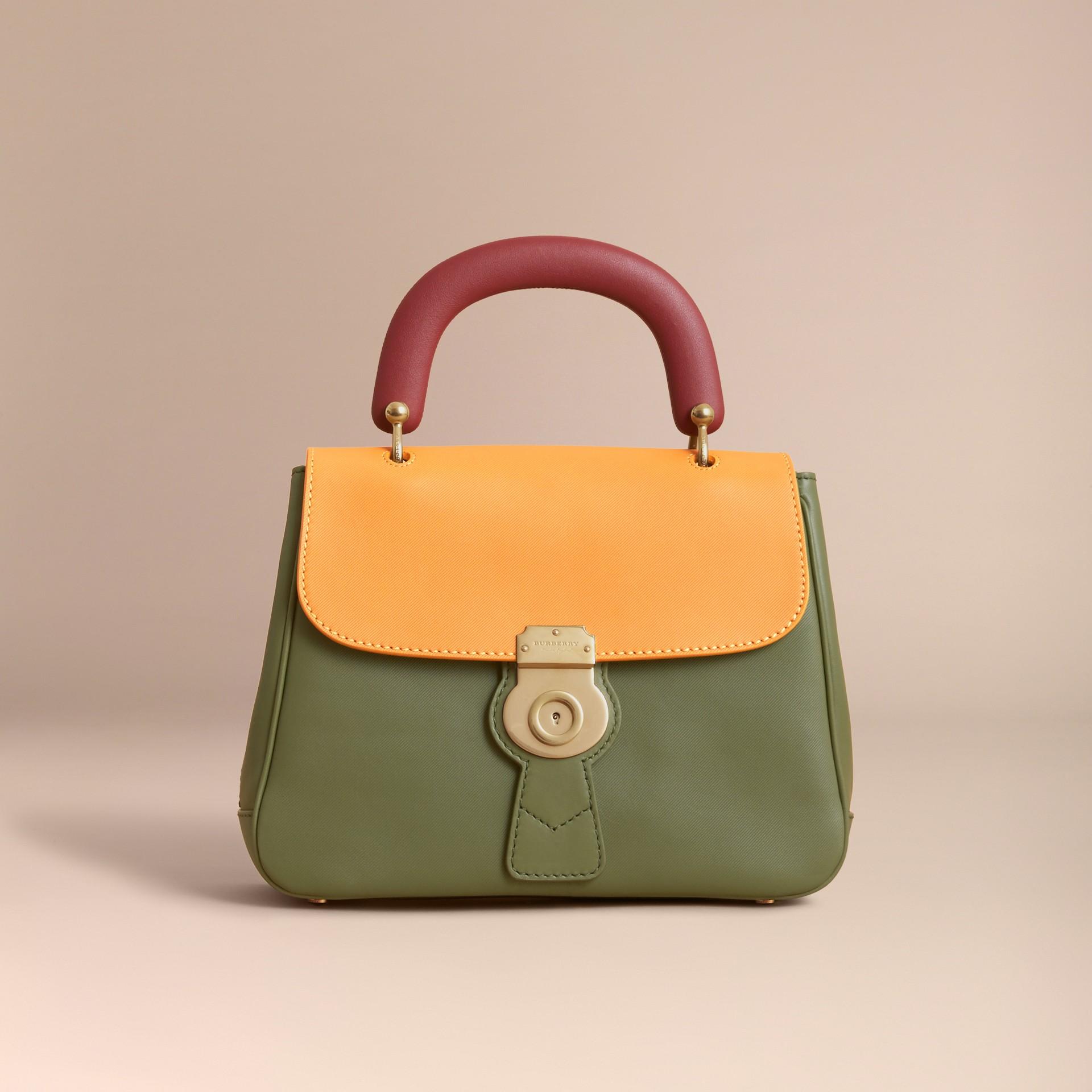 The Medium DK88 Top Handle Bag Moss Green/ochre Yellow - gallery image 8