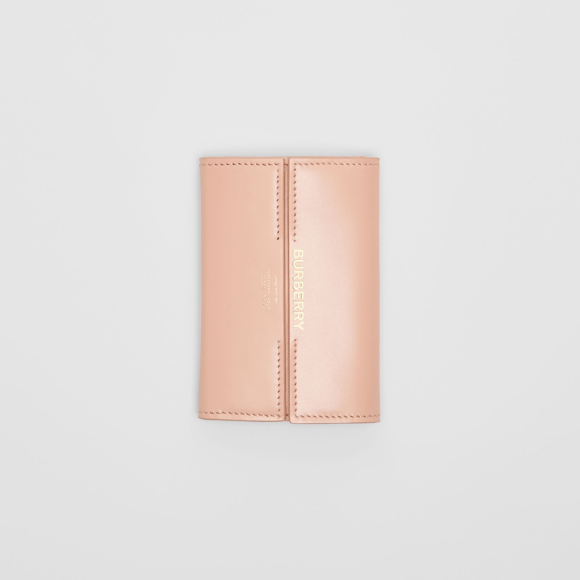 Horseferry Print Leather Folding Wallet in Blush Pink | Burberry Australia - gallery image 3