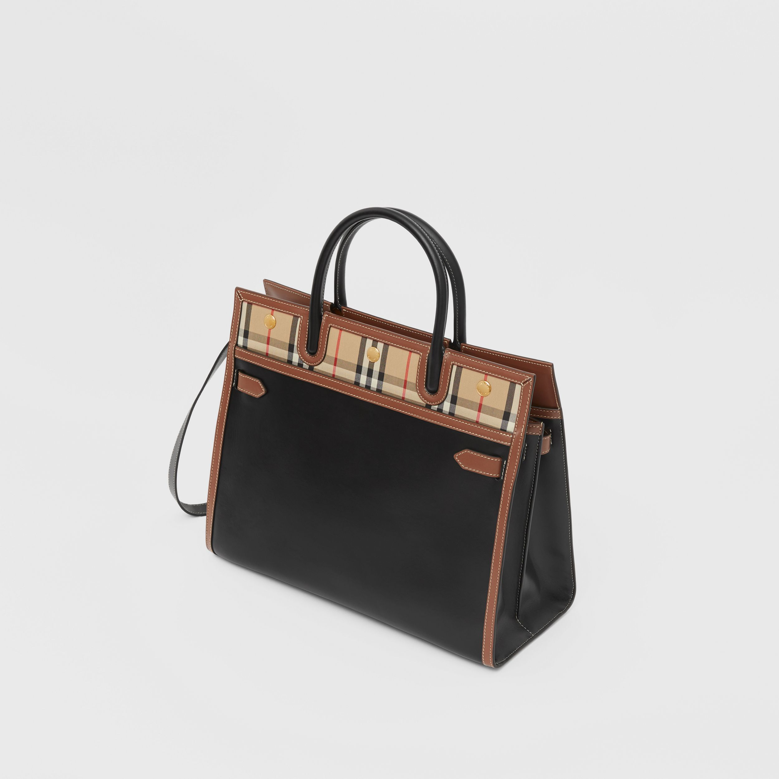 Small Leather and Vintage Check Two-handle Title Bag in Black - Women | Burberry - 4