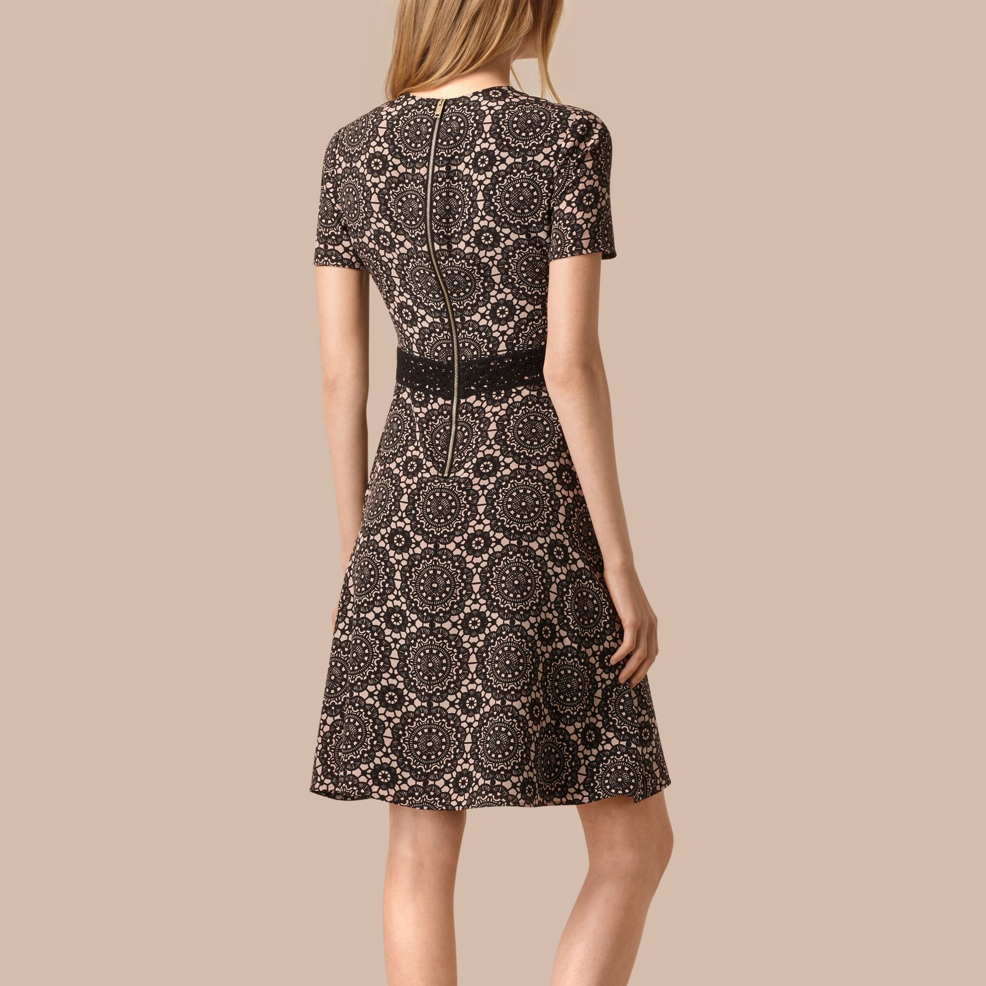 Nude/black Lace Print Silk Shift Dress - gallery image 2