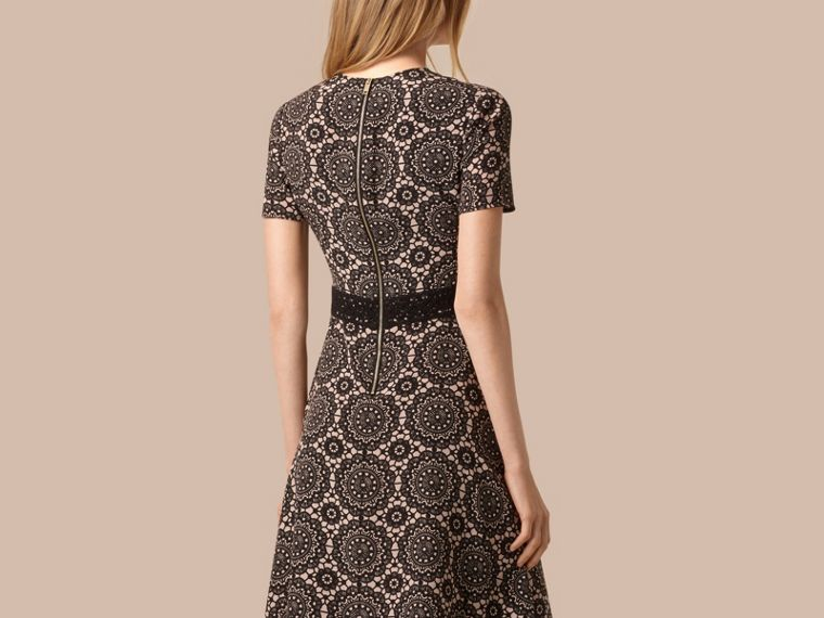 Nude/black Lace Print Silk Shift Dress - cell image 1