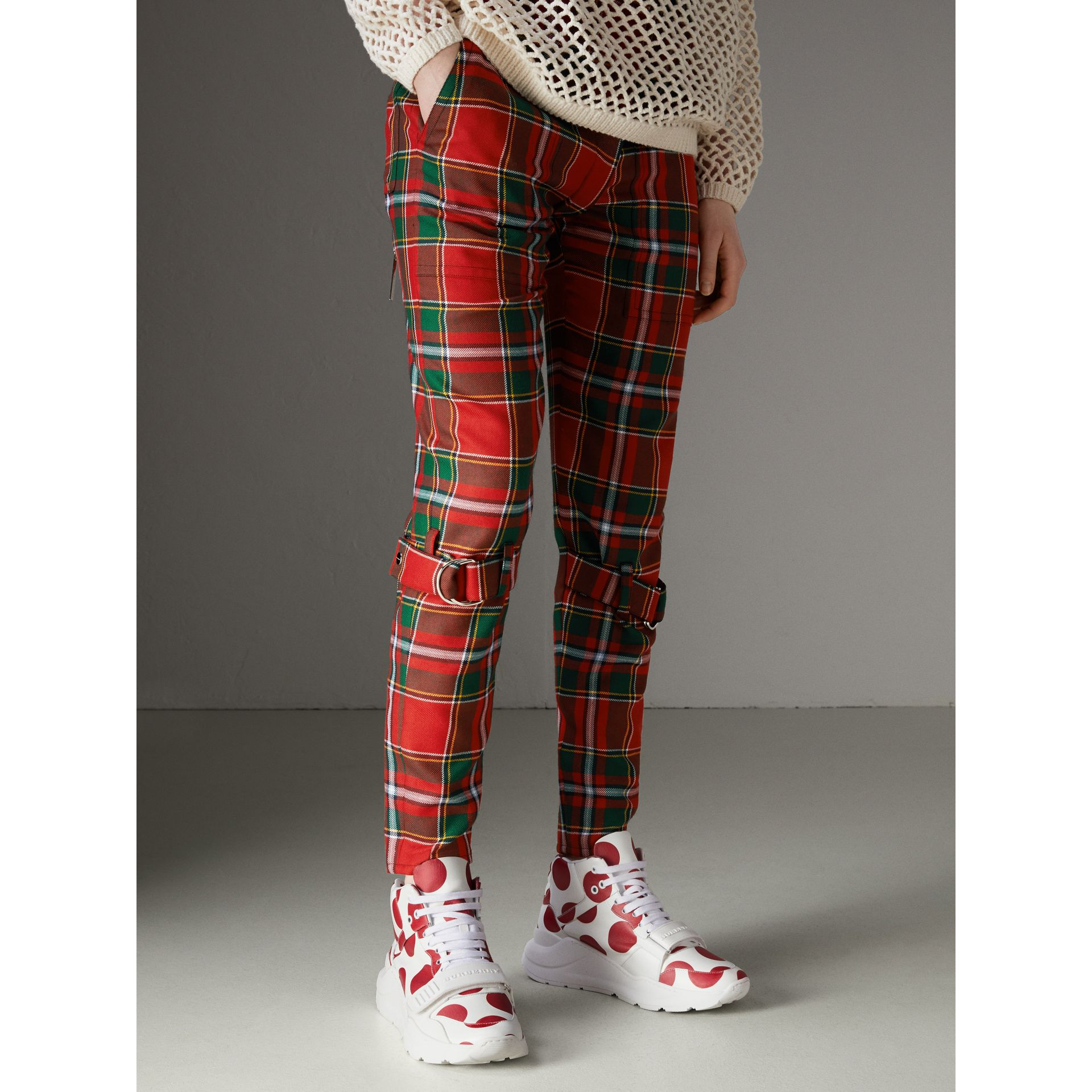 Modern Stewart Royal Tartan Punk Trousers in Bright Red - Women | Burberry Australia - gallery image 5