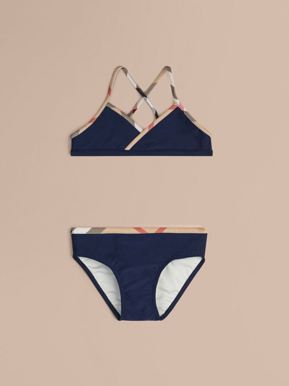 Check Trim Bikini in Navy - Girl | Burberry