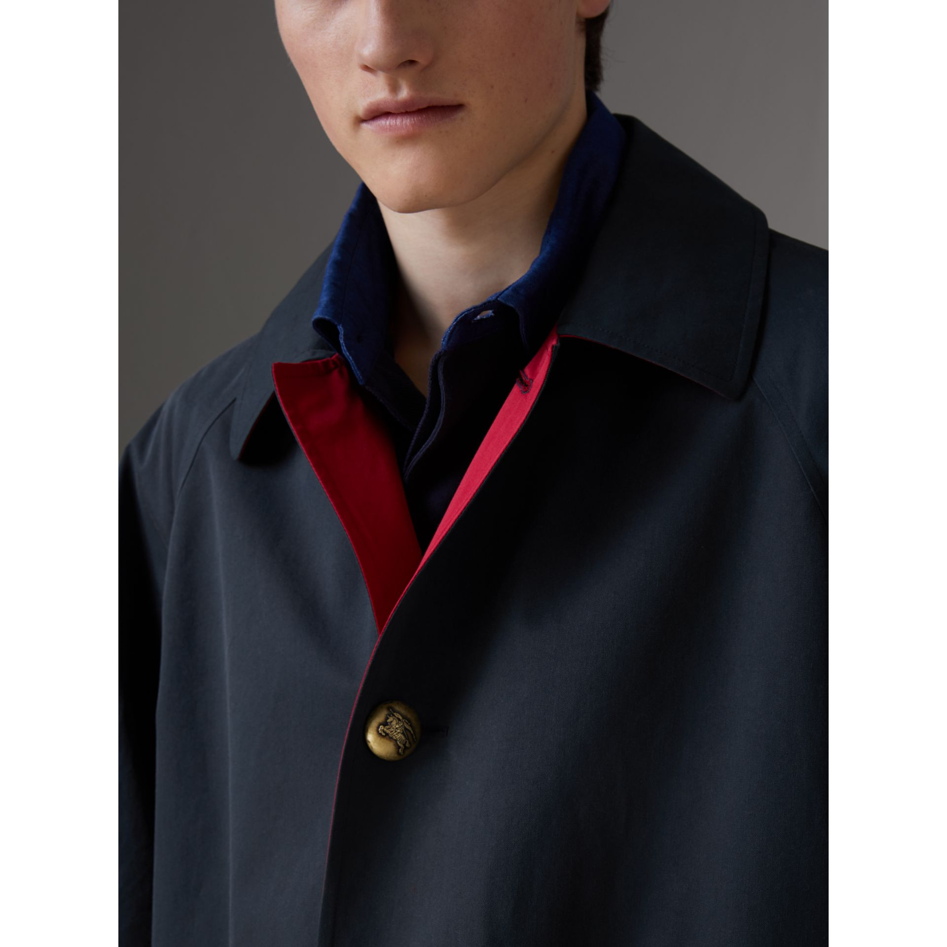 Reissued Waxed Cotton Gabardine Car Coat in Navy - Men | Burberry - gallery image 6