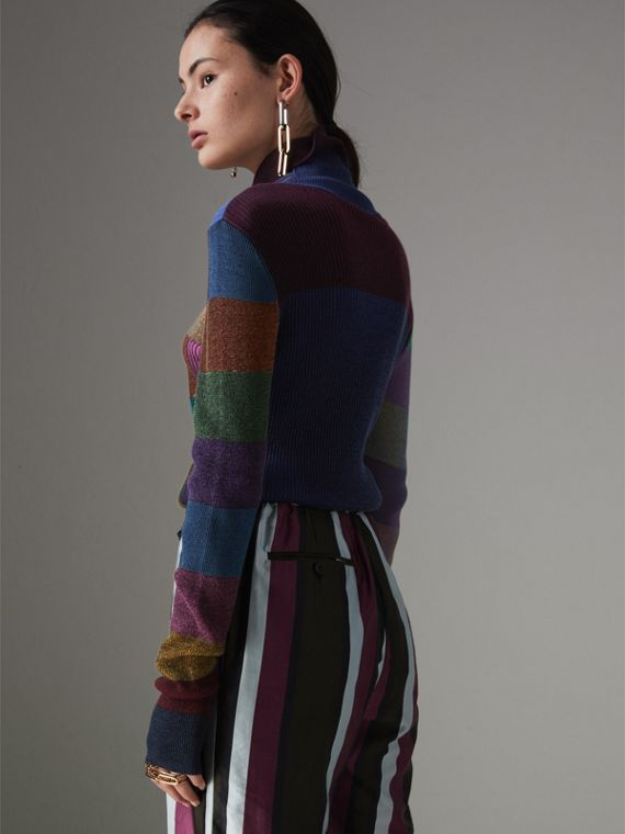 Patchwork Cotton Blend Roll-neck Sweater in Amber - Women | Burberry Hong Kong - cell image 2