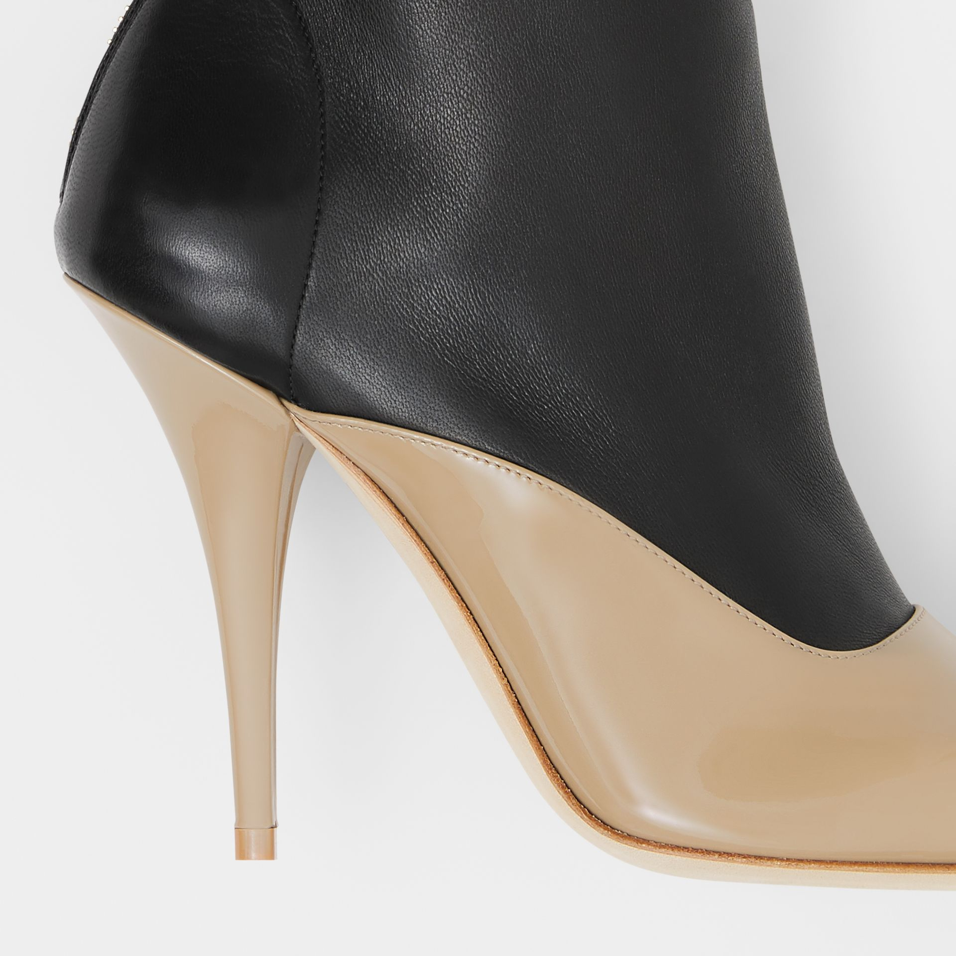 Two-tone Lambskin and Patent Leather Ankle Boots in Dark Honey/black - Women | Burberry - gallery image 1