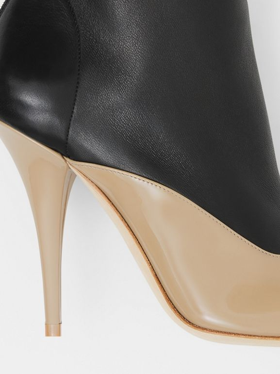 Two-tone Lambskin and Patent Leather Ankle Boots in Dark Honey/black - Women | Burberry - cell image 1