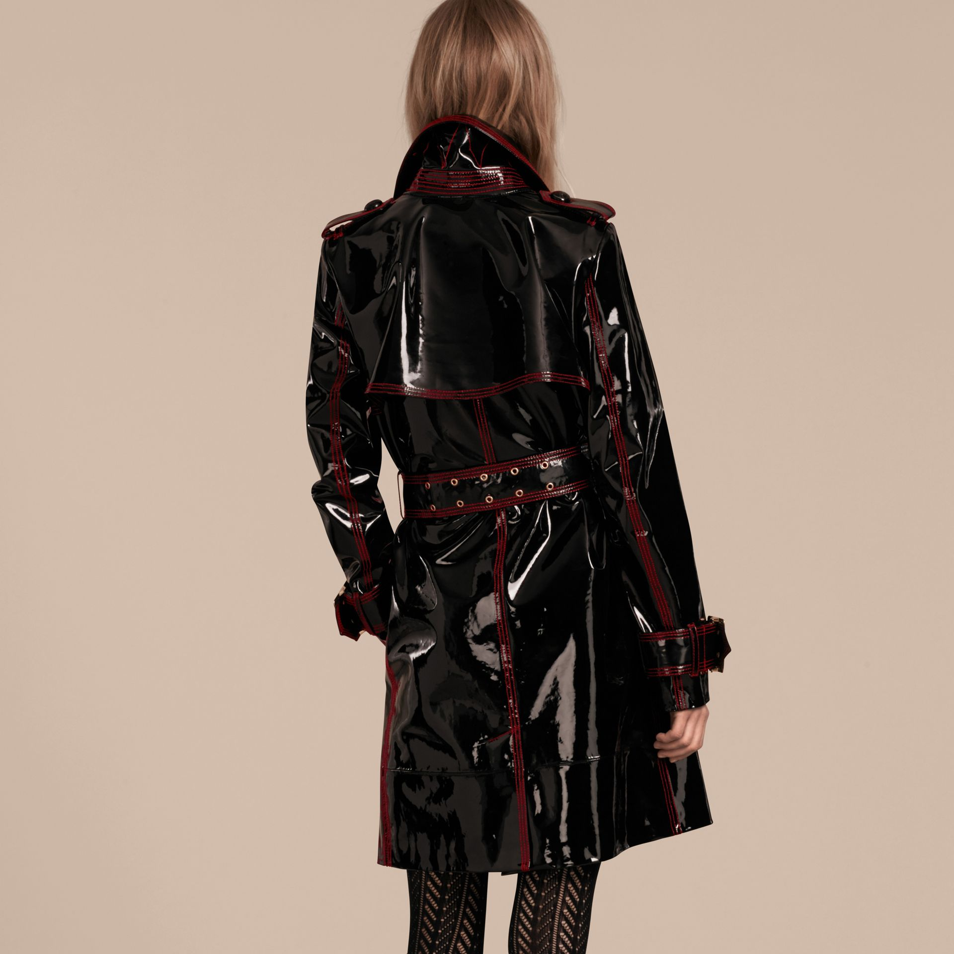 Black Unlined Patent Leather Trench Coat - gallery image 3