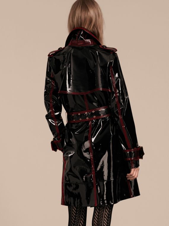Nero Trench coat sfoderato in pelle verniciata - cell image 2